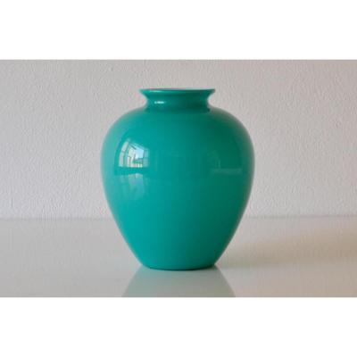 Vase En Verre De Murano, Couleur Vert Menthe, Modèle Des Années 30, Signé Venini.