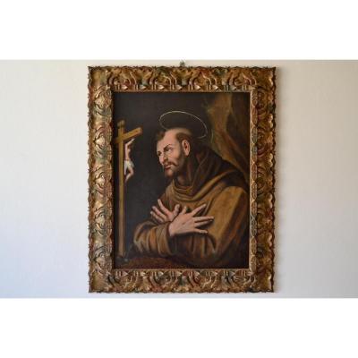 Peinture à l'Huile Sur Bois, De l'école Flamande Du XVIe Siècle, Saint François En Prière