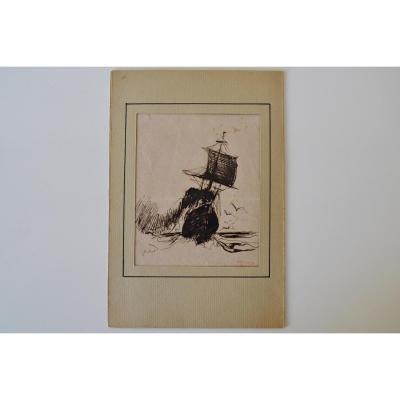 Raffaello Sorbi (Florence, 1844-1931), Navire Avec La Mer Orageuse, Collection Sommaruga Paris