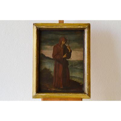 Peinture à l'Huile Sur Cuivre, école Romaine Du XVIIe Siècle, San Francesco Da Paola