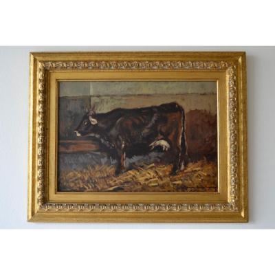 Carlo Domenici (Livourne, 1897 - Portoferraio, 1981), Intérieur stable avec vache