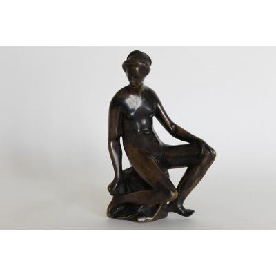 Sculpture En Bronze Nude Femelle Attribuable à Barthèlemy Prieur, XVIème Siècle