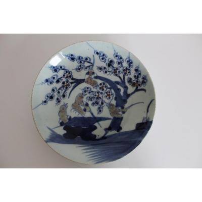 Ancien Plat Japonais, En Céramique Bleue Et Blanche, Seconde Moitié Du XIXe Siècle