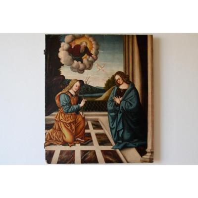 Ancienne Peinture Huile Sur Table, XVIe Siècle, école émilienne Ou Toscane, l'Annonciantion