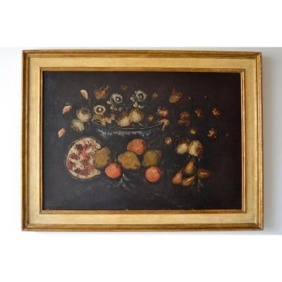 Peinture à l'Huile Sur Toile, école émilienne Du XVIIe Siècle, Nature Morte Aux Fruits