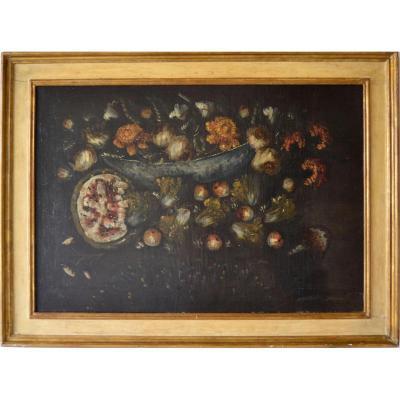 Peinture à l'Huile Sur Toile, école émilienne Du XVIIe Siècle, Représentant Une Nature Morte