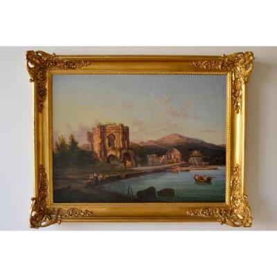 Raffaela Scoppa, Golfe De Bay (Naples) Avec Le Temple De Vénus Et Le Temple De Diana, 1859