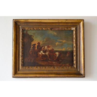 Peinture à l'Huile Sur Toile, école Flamande Du XVIIème Siècle, Arrêt De Cavalerie