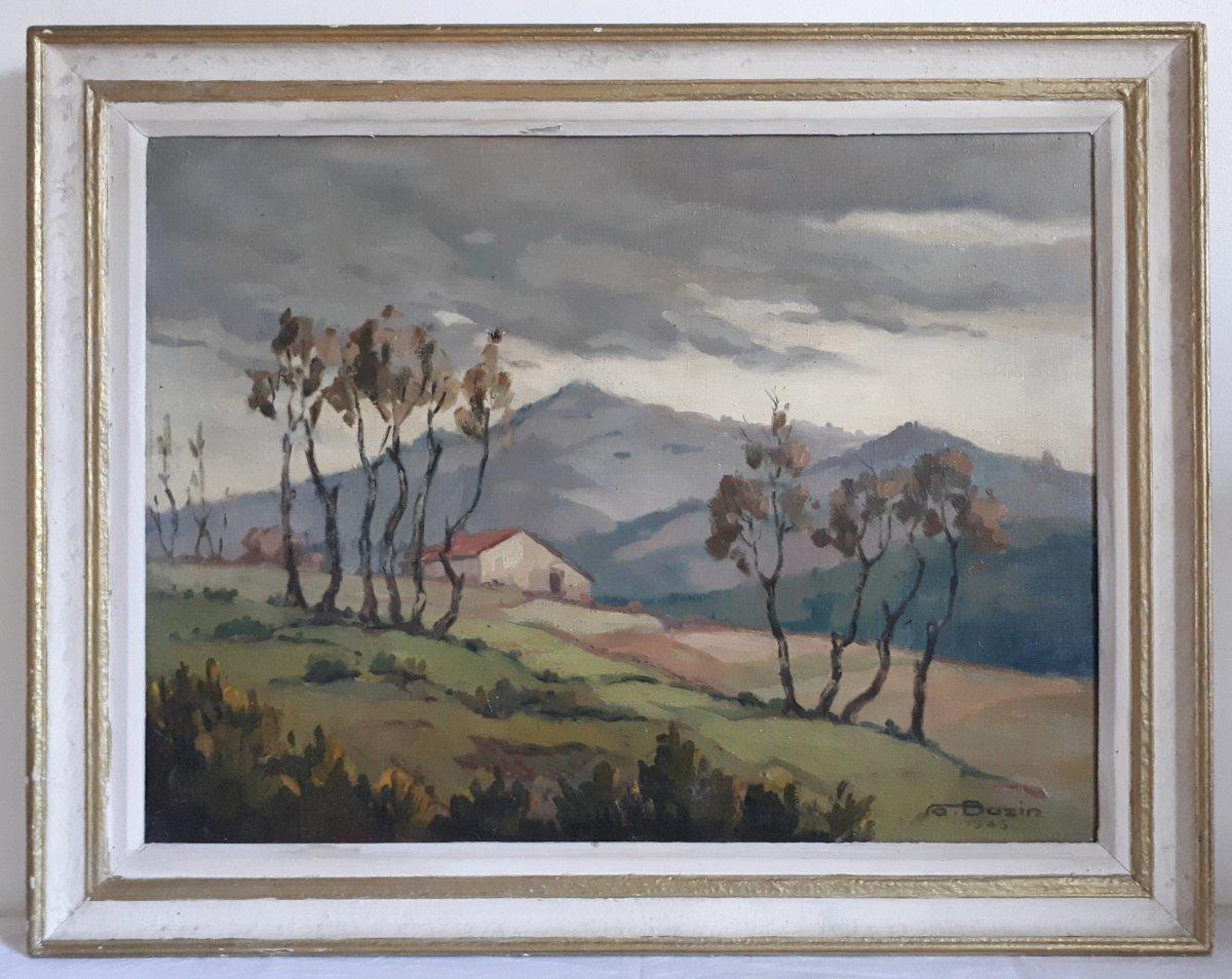 Tableau huile sur toile paysage vallonné montagnes A. BAZIN 1943