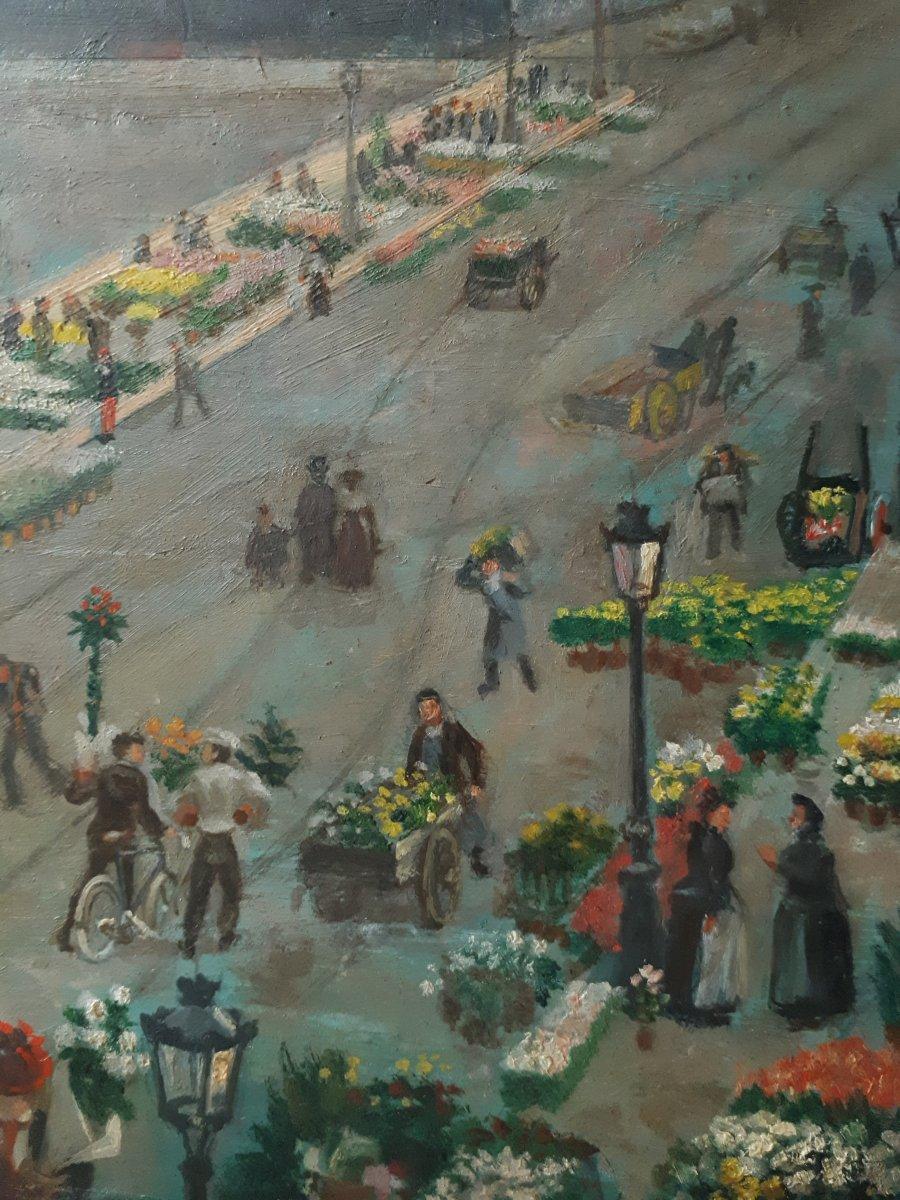 Alfred LE PETIT (1841-1909) Paris Le pont au Change marché aux fleurs huile sur panneau 1904-photo-1