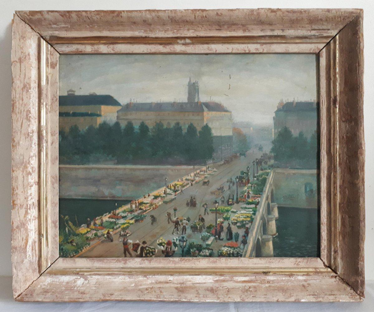 Alfred LE PETIT (1841-1909) Paris Le pont au Change marché aux fleurs huile sur panneau 1904