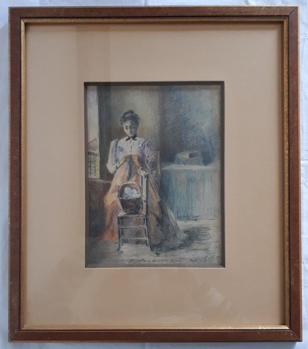 M. TH. MANESSE LECOEUR dessin au pastel et crayon daté 1904 portrait de femme début XXème