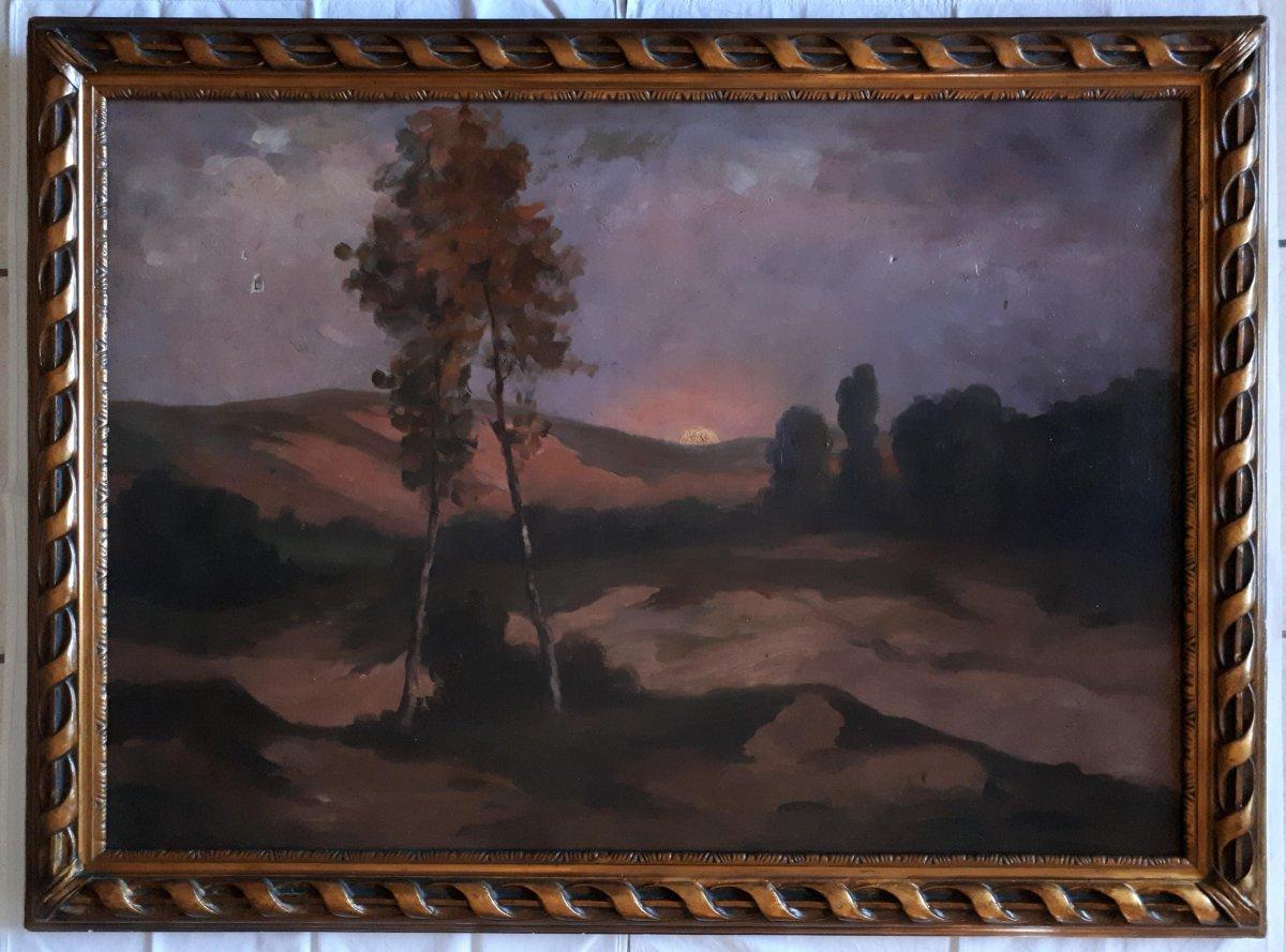 Grand tableau huile sur toile paysage au crépuscule fin XIXème début XXème cadre bois doré