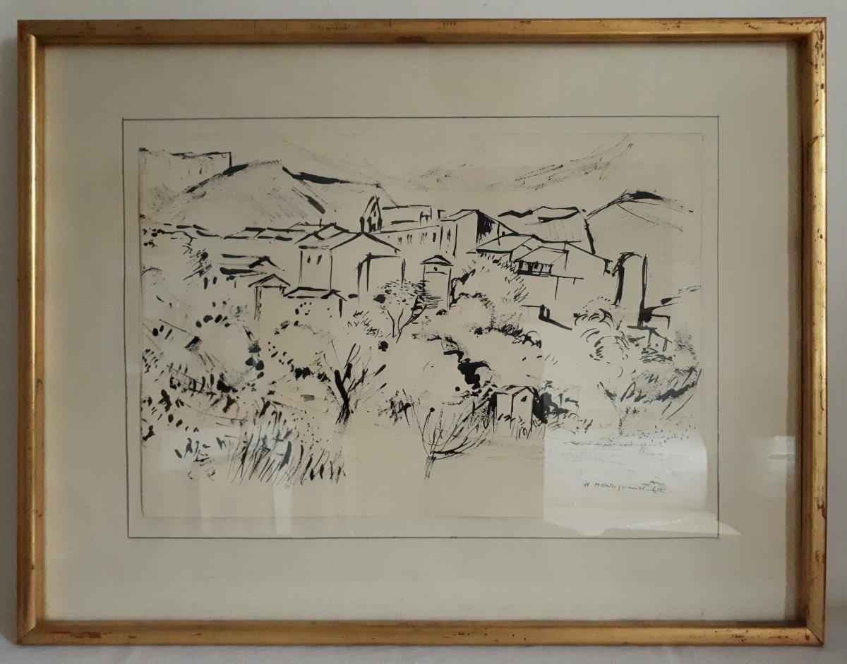 Hélène MOURIQUAND (1918-2018) Ecole lyonnaise paysage vallonné village dessin encre de Chine 1962
