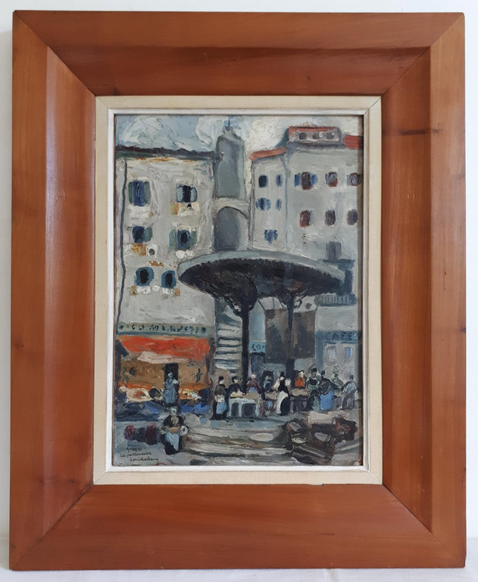 Oil Painting On Panel Louis Raibaud Grasse Place De La Poissonnerie 1924