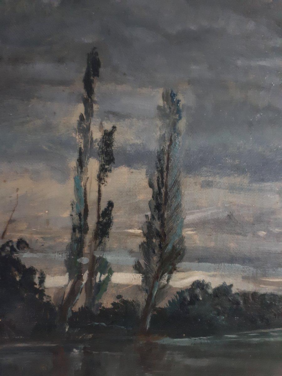 Tableau huile sur toile paysage au clair de lune crépuscule 19ème signé-photo-1