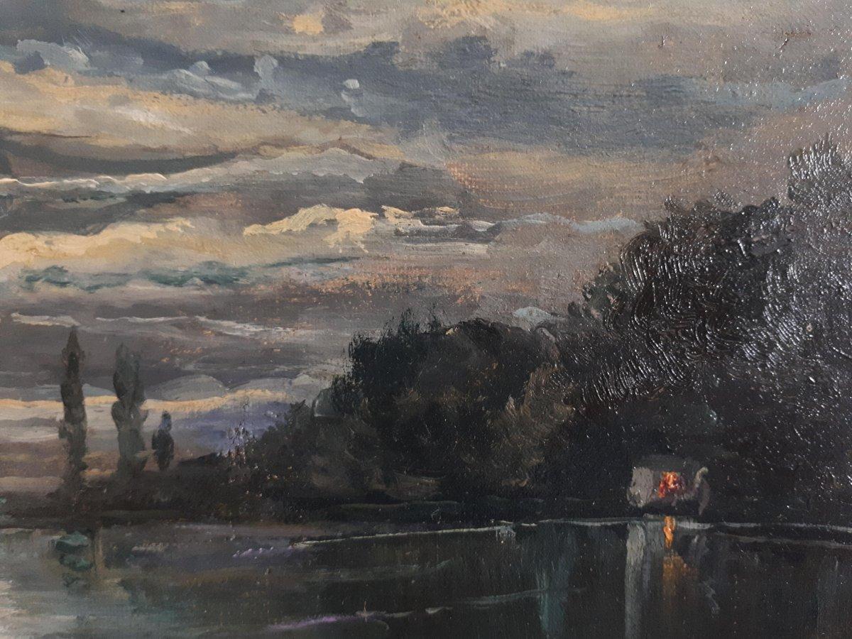 Tableau huile sur toile paysage au clair de lune crépuscule 19ème signé-photo-3