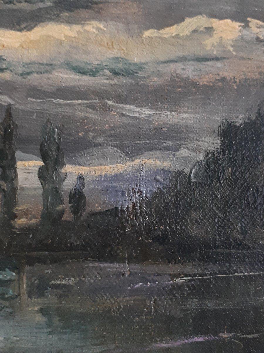 Tableau huile sur toile paysage au clair de lune crépuscule 19ème signé-photo-4