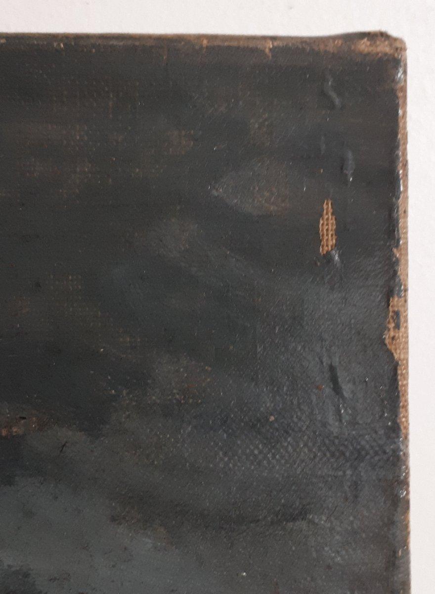 Tableau huile sur toile paysage au clair de lune crépuscule 19ème signé-photo-5