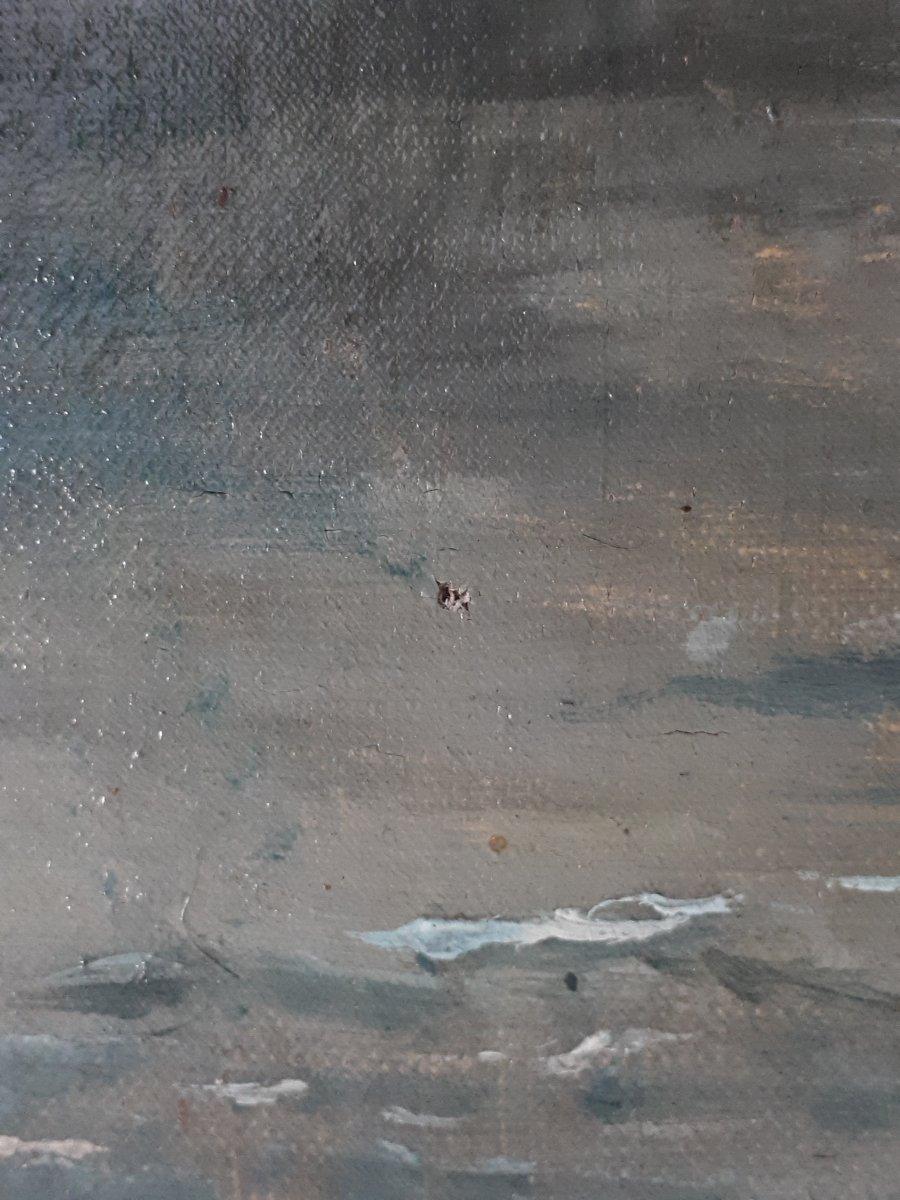 Tableau huile sur toile paysage au clair de lune crépuscule 19ème signé-photo-6