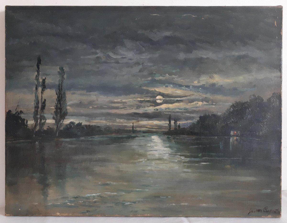 Tableau huile sur toile paysage au clair de lune crépuscule 19ème signé