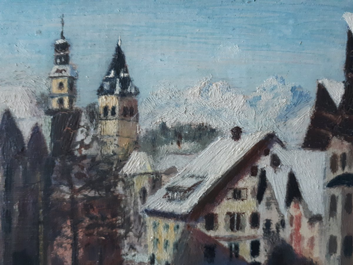 Painting Oil On Wood Lively Street Mountain Winter Landscape Early 20th (signed)-photo-3
