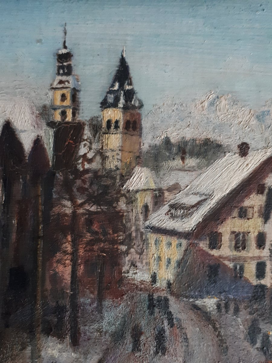Painting Oil On Wood Lively Street Mountain Winter Landscape Early 20th (signed)-photo-4