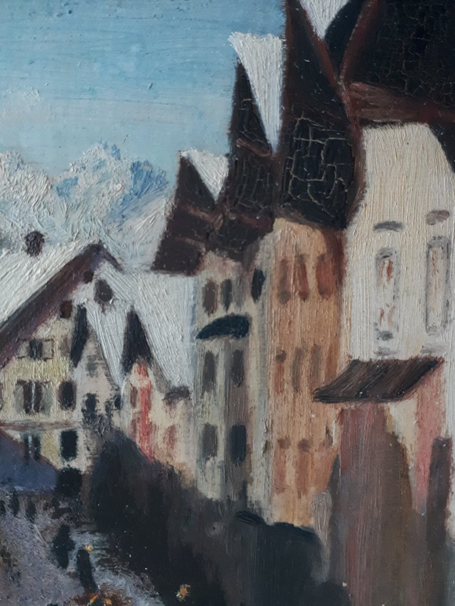 Painting Oil On Wood Lively Street Mountain Winter Landscape Early 20th (signed)-photo-5