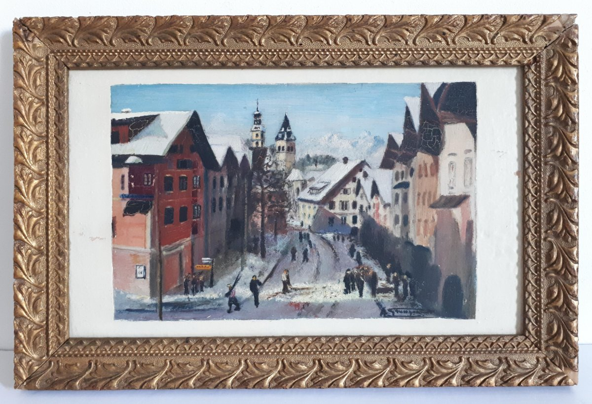 Painting Oil On Wood Lively Street Mountain Winter Landscape Early 20th (signed)