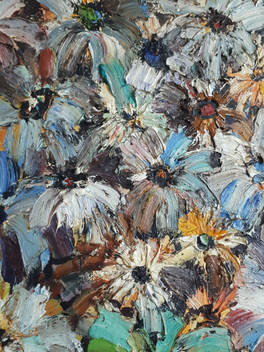 Jacques FROMONOT (1926-2014) huile sur panneau nature morte au bouquet de fleurs 1960 milieu 20ème-photo-3