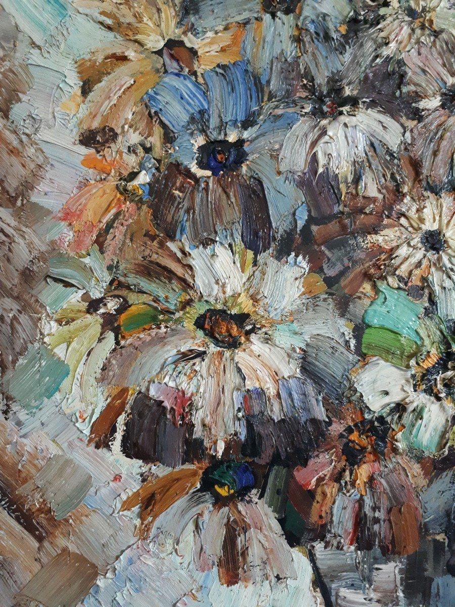 Jacques FROMONOT (1926-2014) huile sur panneau nature morte au bouquet de fleurs 1960 milieu 20ème-photo-1