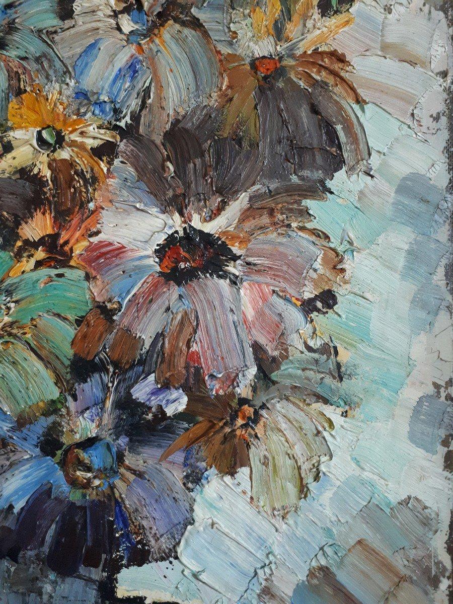 Jacques FROMONOT (1926-2014) huile sur panneau nature morte au bouquet de fleurs 1960 milieu 20ème-photo-2