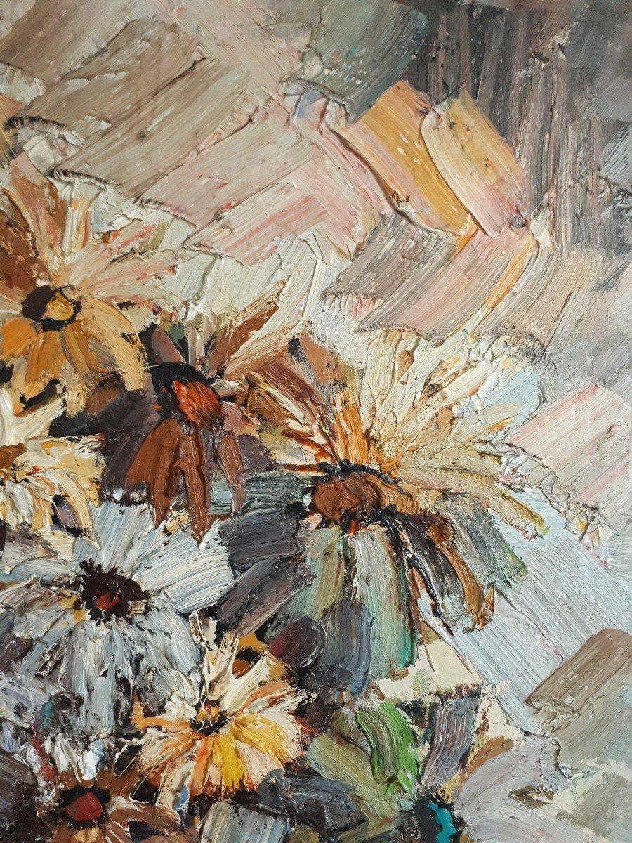 Jacques FROMONOT (1926-2014) huile sur panneau nature morte au bouquet de fleurs 1960 milieu 20ème-photo-4