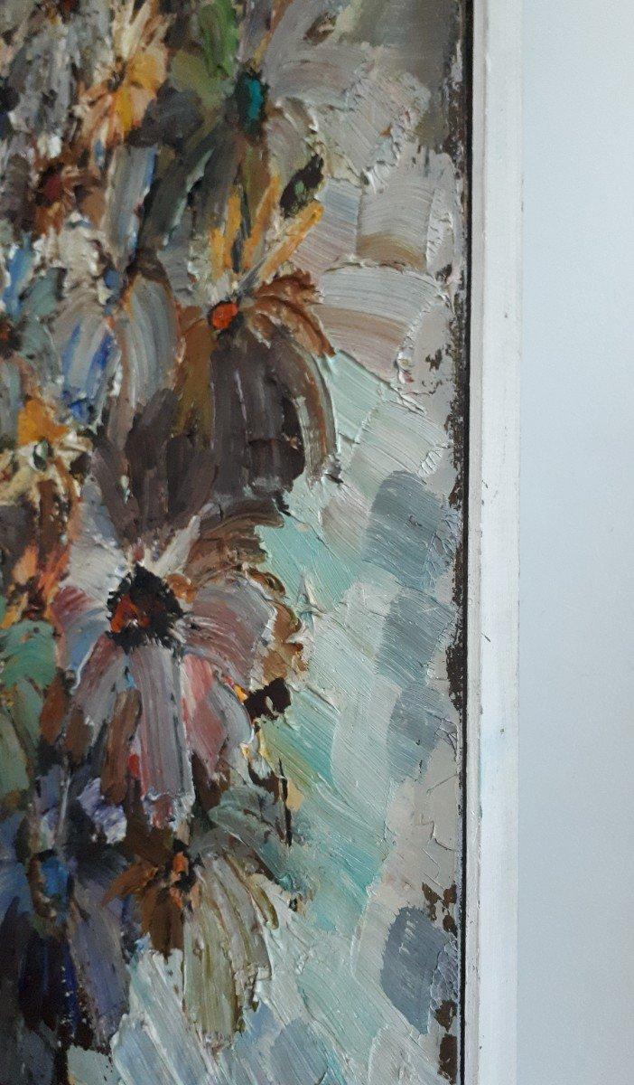 Jacques FROMONOT (1926-2014) huile sur panneau nature morte au bouquet de fleurs 1960 milieu 20ème-photo-6