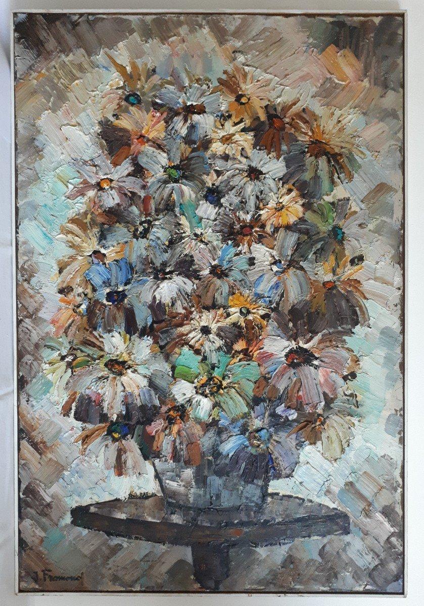 Jacques FROMONOT (1926-2014) huile sur panneau nature morte au bouquet de fleurs 1960 milieu 20ème