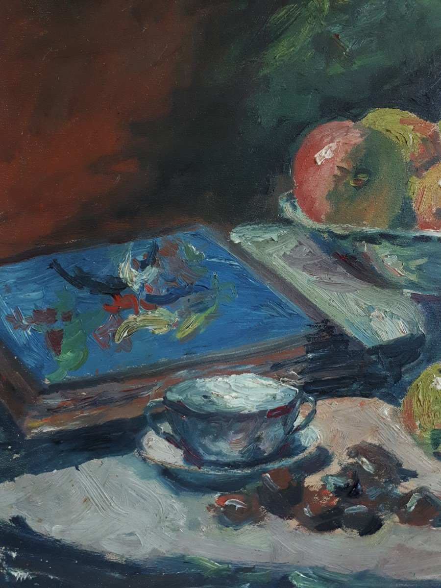 Oil On Panel Still Life With Ham And Apples A. Donat Early 20th Century-photo-2