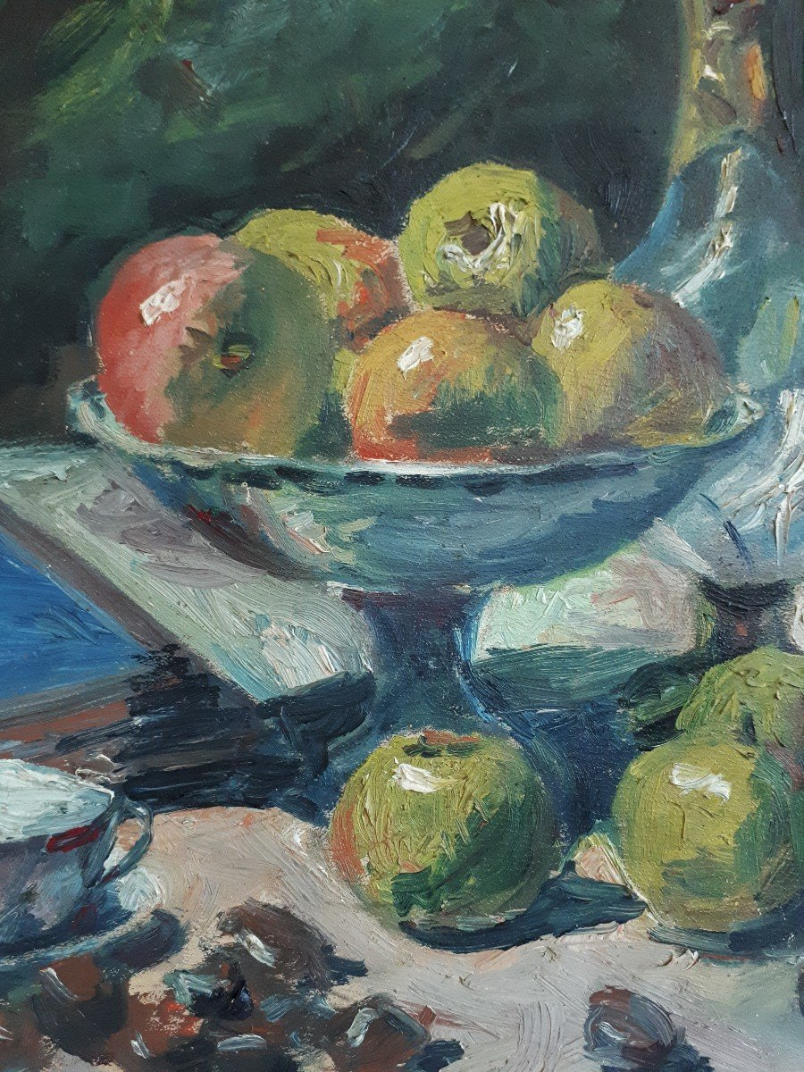 Oil On Panel Still Life With Ham And Apples A. Donat Early 20th Century-photo-3