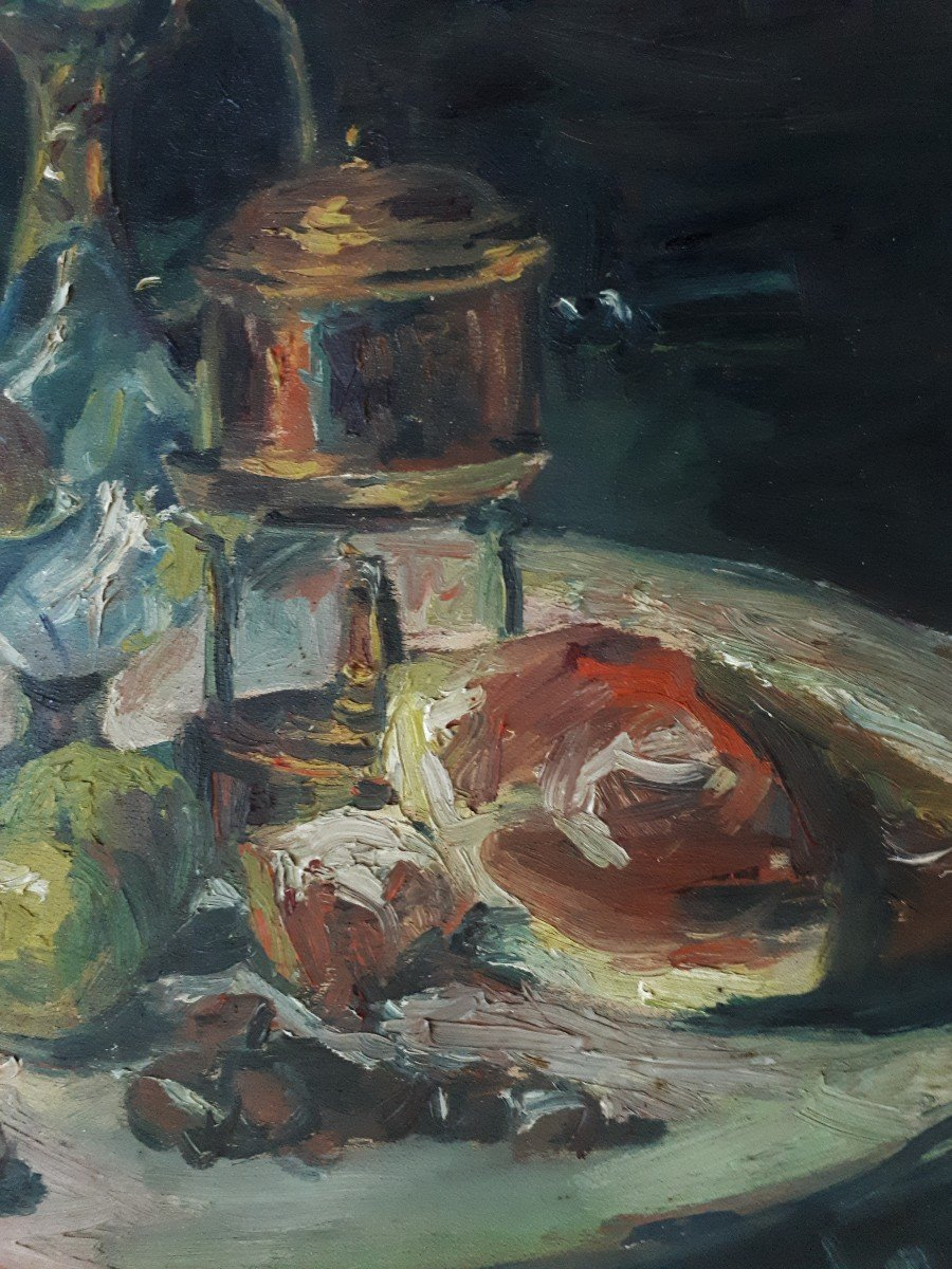 Oil On Panel Still Life With Ham And Apples A. Donat Early 20th Century-photo-1