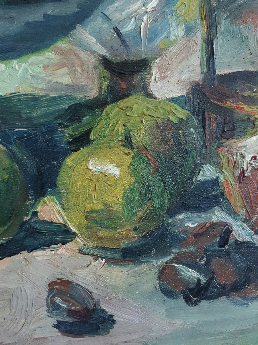 Oil On Panel Still Life With Ham And Apples A. Donat Early 20th Century-photo-4