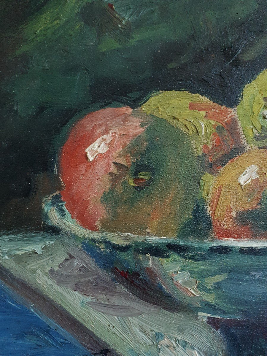 Oil On Panel Still Life With Ham And Apples A. Donat Early 20th Century-photo-6
