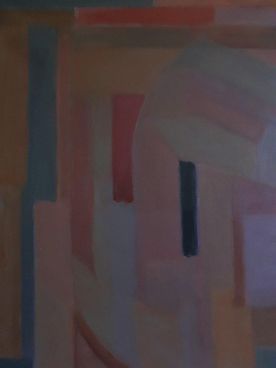 Tableau huile sur toile composition géométrique art abstrait E. MEYER 1969  -photo-2