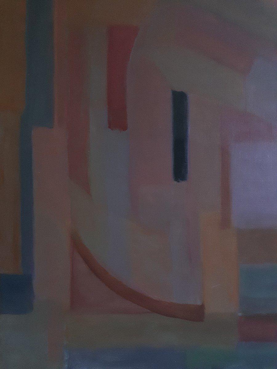 Tableau huile sur toile composition géométrique art abstrait E. MEYER 1969  -photo-3