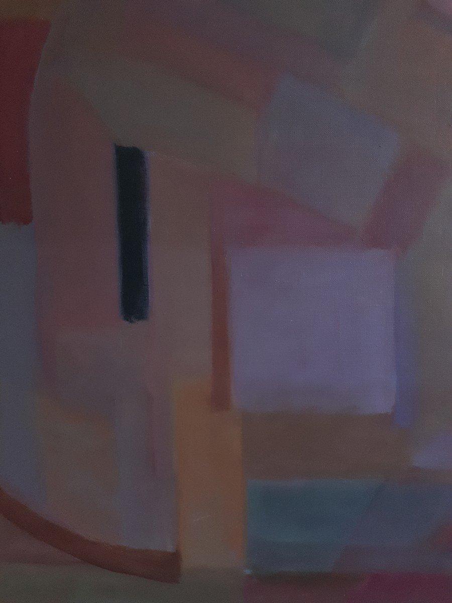 Tableau huile sur toile composition géométrique art abstrait E. MEYER 1969  -photo-1
