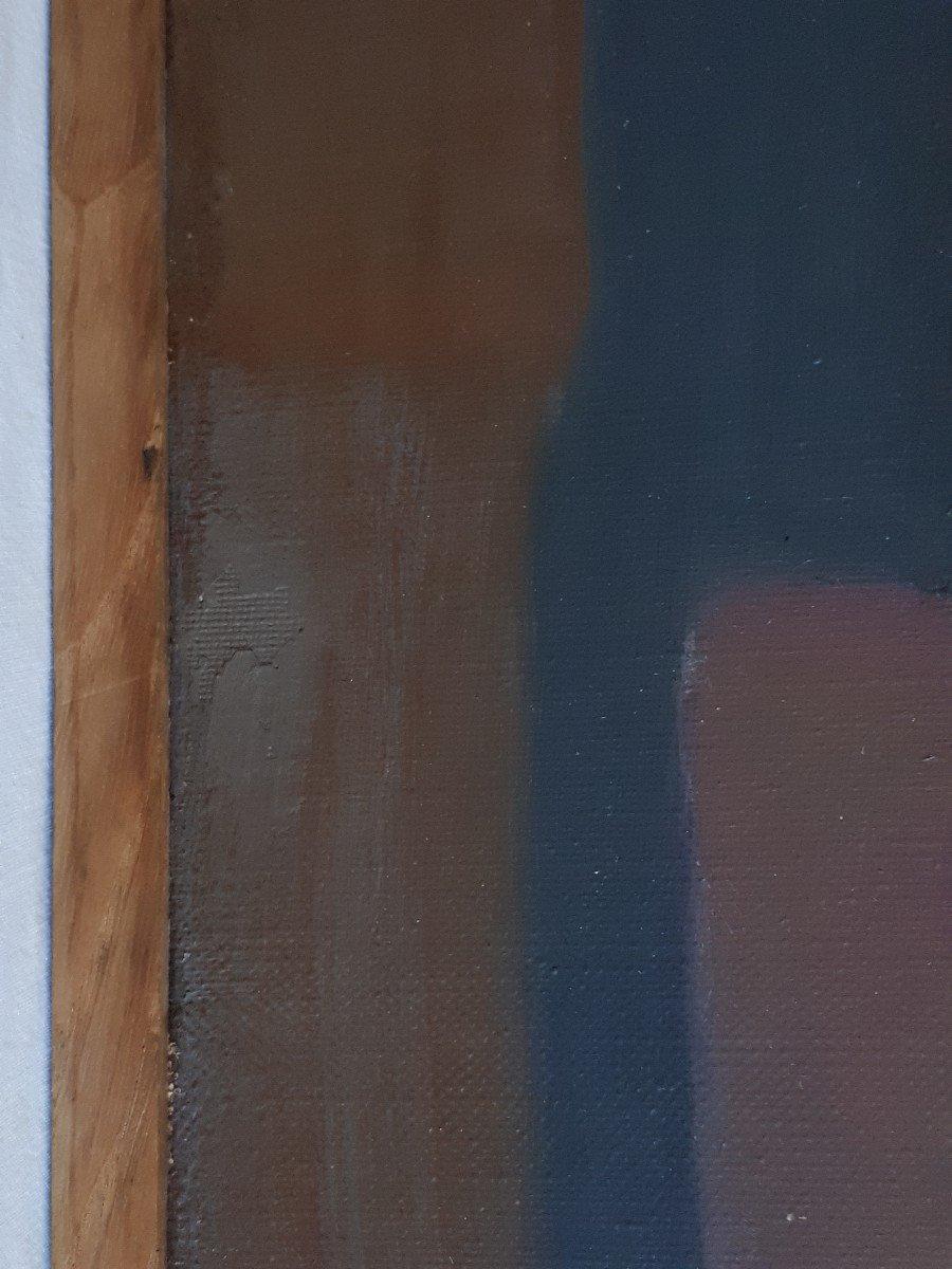 Tableau huile sur toile composition géométrique art abstrait E. MEYER 1969  -photo-4