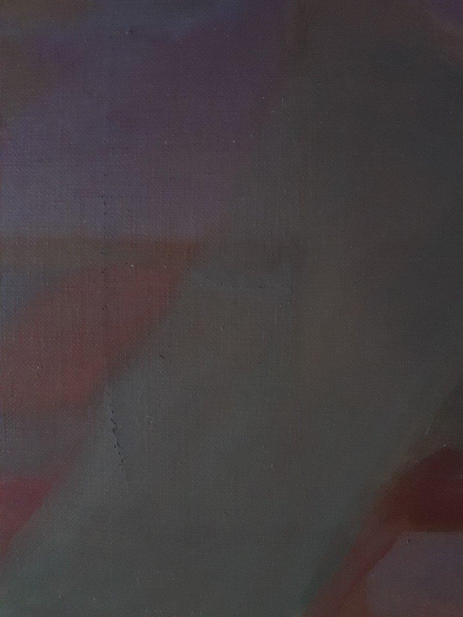 Tableau huile sur toile composition géométrique art abstrait E. MEYER 1969  -photo-5
