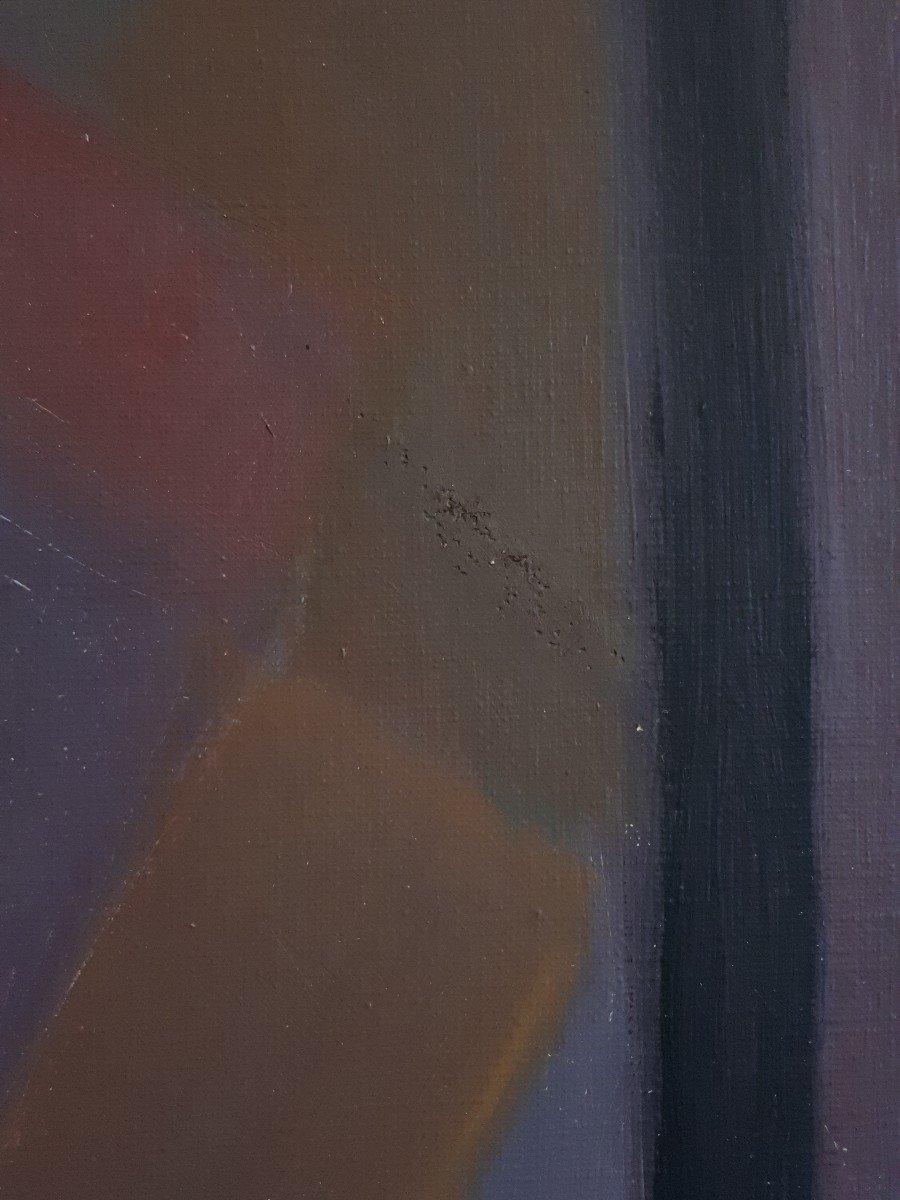 Tableau huile sur toile composition géométrique art abstrait E. MEYER 1969  -photo-6