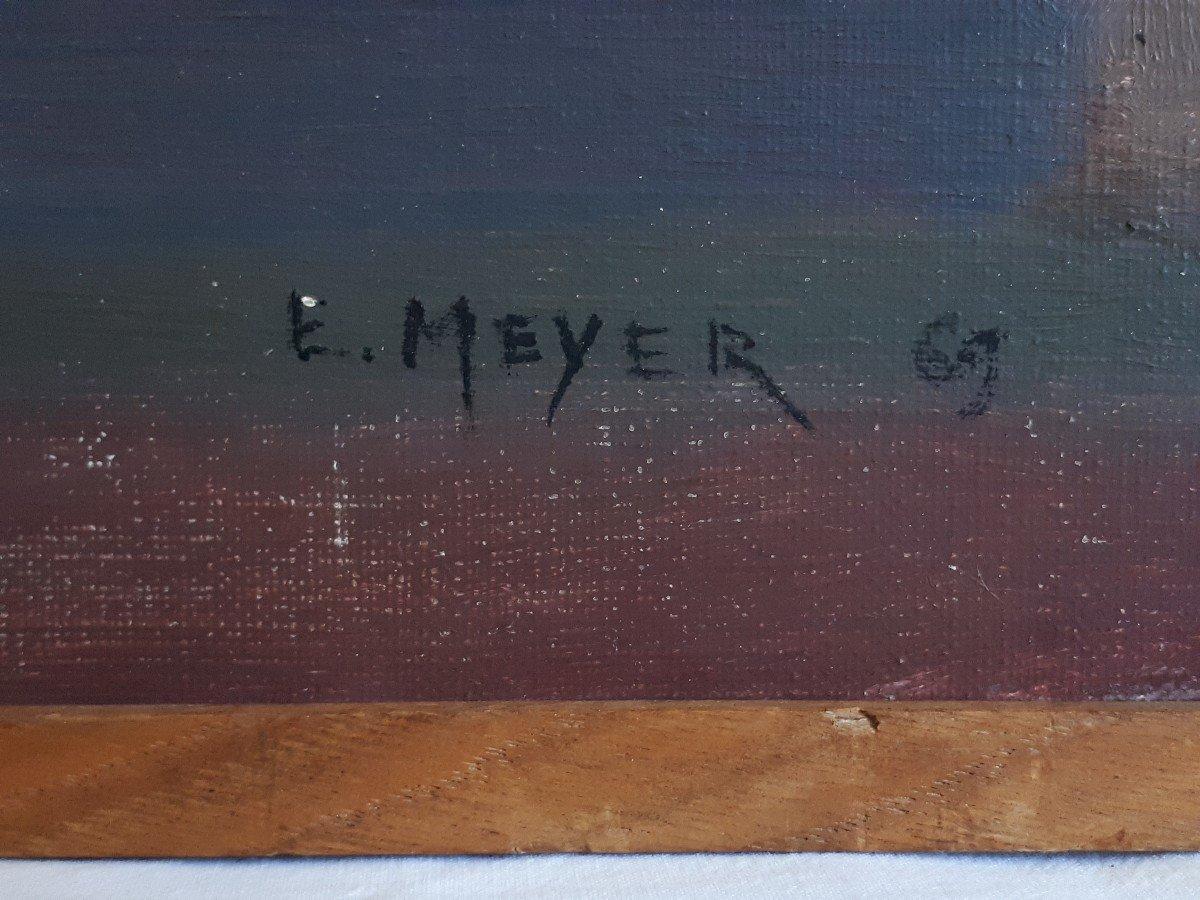 Tableau huile sur toile composition géométrique art abstrait E. MEYER 1969  -photo-7