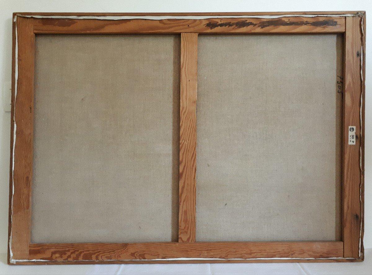 Tableau huile sur toile composition géométrique art abstrait E. MEYER 1969  -photo-8
