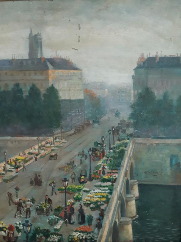 Alfred LE PETIT (1841-1909) Paris Le pont au Change marché aux fleurs huile sur panneau 1904-photo-2