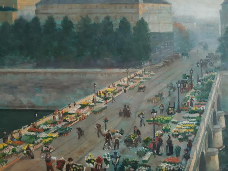 Alfred LE PETIT (1841-1909) Paris Le pont au Change marché aux fleurs huile sur panneau 1904-photo-3